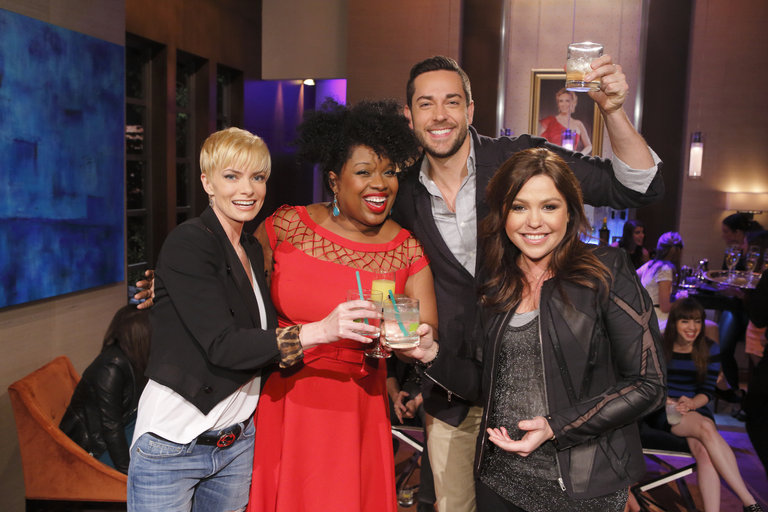"HOLLYWOOD GAME NIGHT -- ""50 Charades of Grey"" -- Pictured: (l-r) Jaime Pressly, Contestant, Zachary Levi, Rachael Ray -- (Photo by: Trae Patton/NBC)"