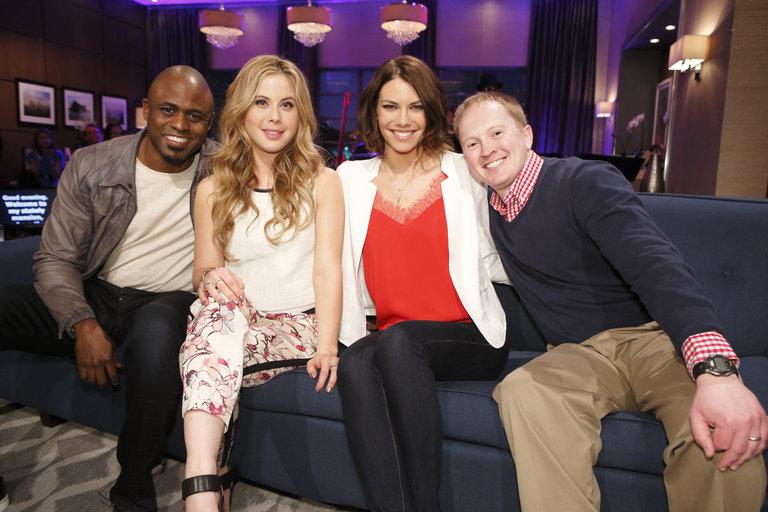 "HOLLYWOOD GAME NIGHT -- ""50 Charades of Grey"" -- Pictured: (l-r) Wayne Brady, Tara Lipinski, Lauren Cohan, Contestant -- (Photo by: Trae Patton/NBC)"