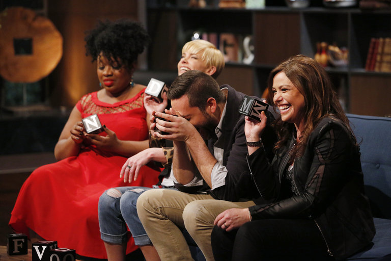 """HOLLYWOOD GAME NIGHT -- """"50 Charades of Grey"""" -- Pictured: (l-r) Contestant, Jaime Pressly, Zachary Levi, Rachael Ray -- (Photo by: Trae Patton/NBC)"""