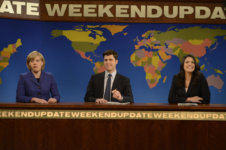 Andrew Garfield hosts Saturday Night Live with musical guest Coldplay on May 3, 2014.