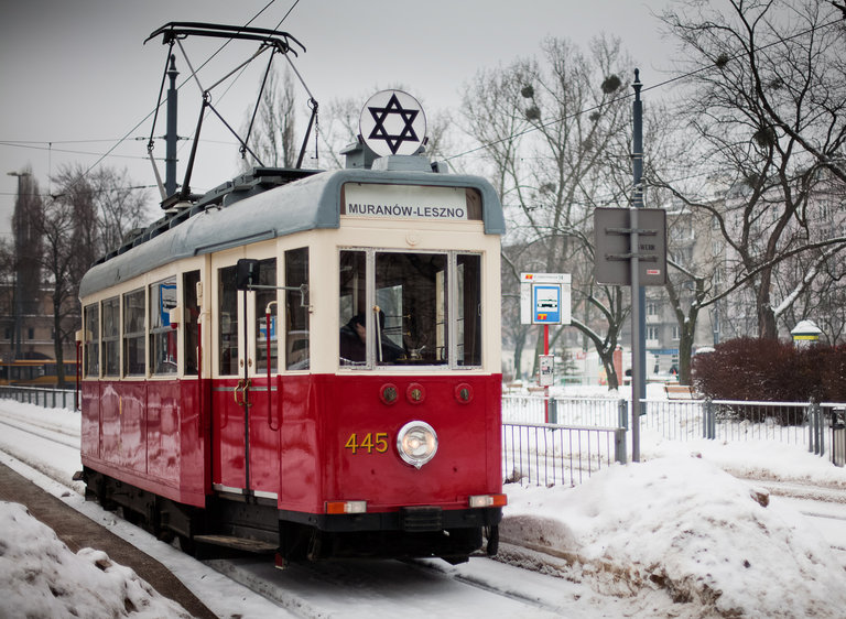 The historic empty tram marked with the