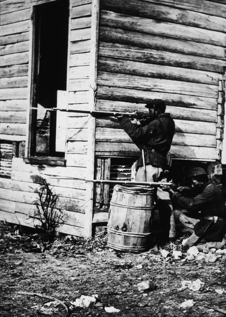 Black US Soldiers Pointing Rifles In Civil War