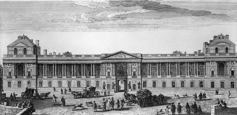 Paris. Front of the ancient Louvre (XVIIIth centur