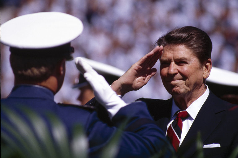Ronald Reagan Salutes West Point Graduates