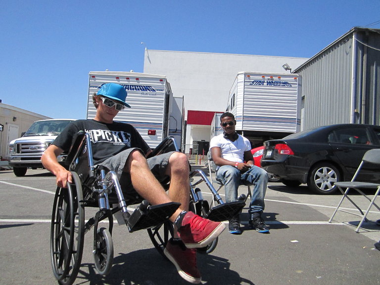 Smalls getting wheel chair practice in case the show doesnt go perfect