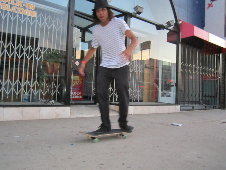 Snap Boogie riding Phils skateboard