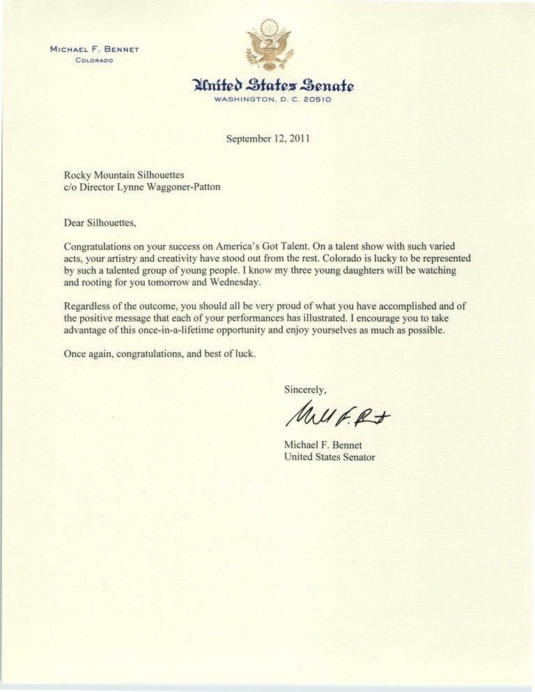 A Letter from Senator Bennet