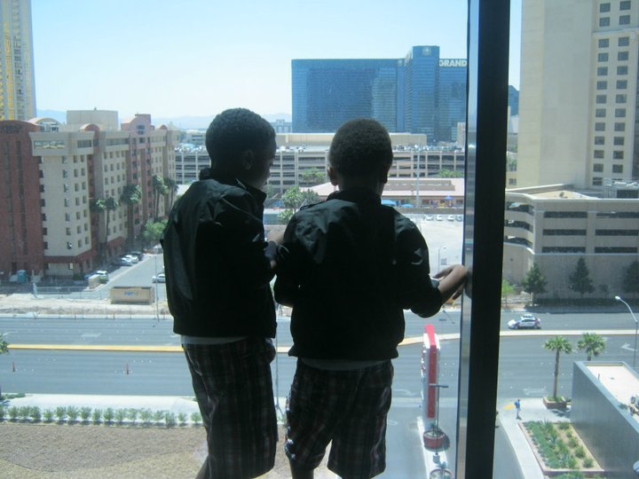 looking out at the swimming pool