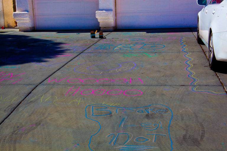 our very colorful driveway :)