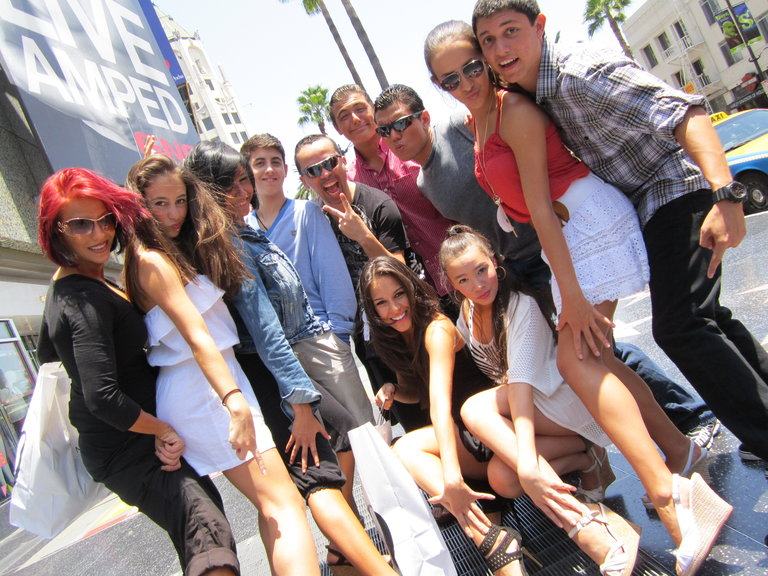 Having fun striking a pose on the Hollywood Strip