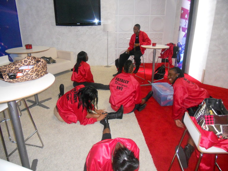 In the green room before rehearsal
