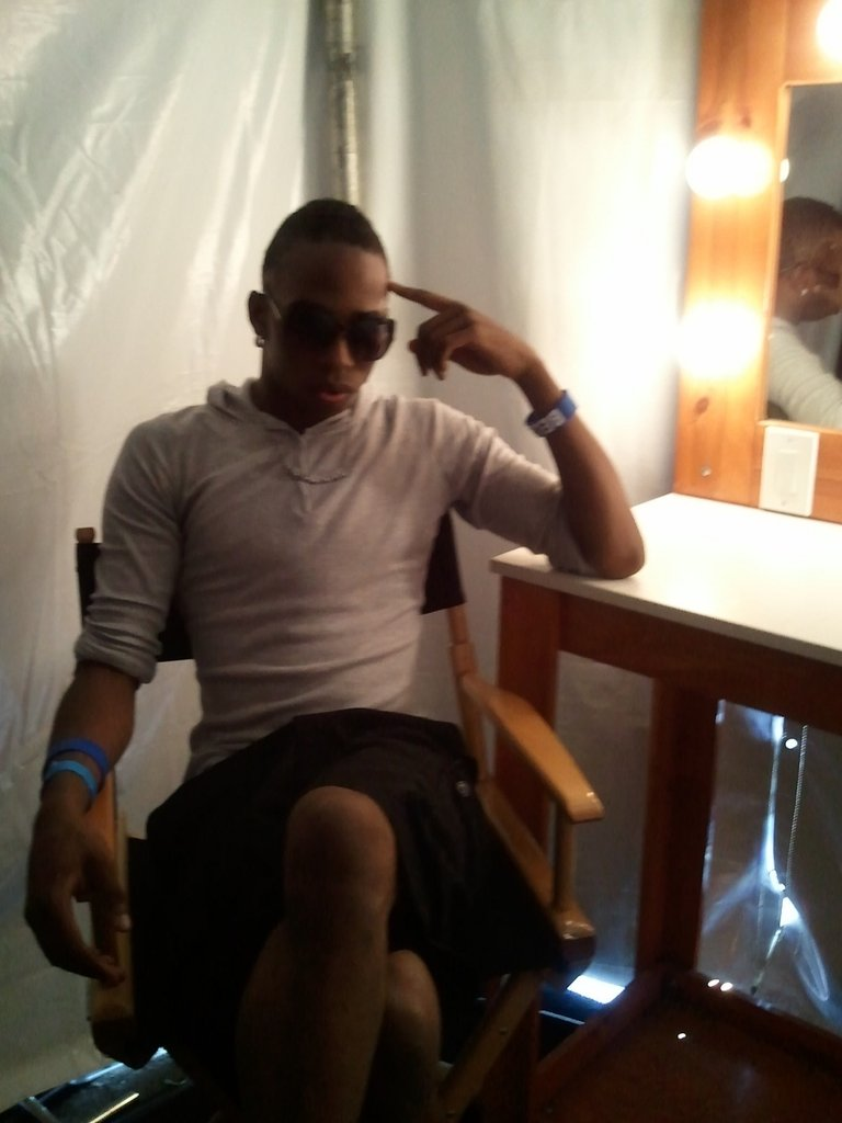 D'Andre in the dressing room