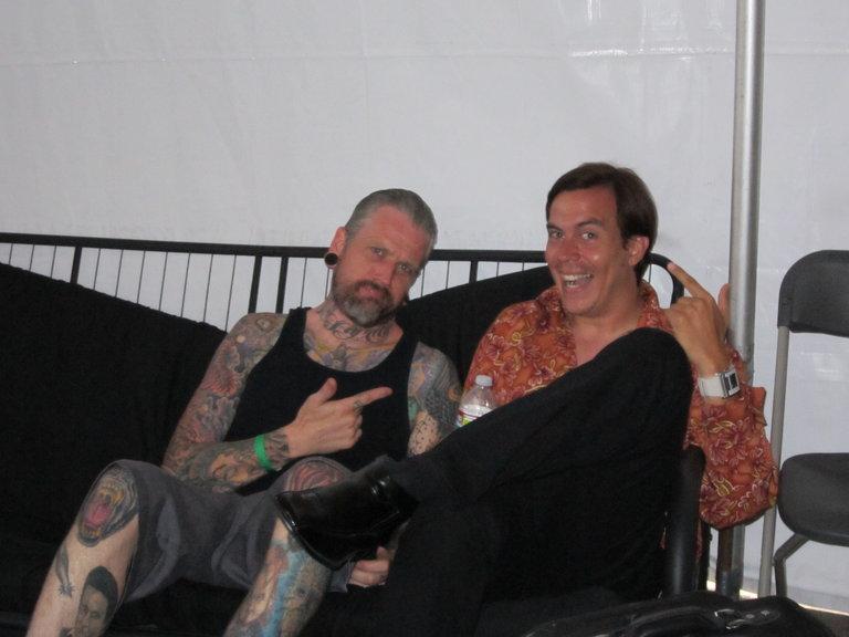 Captain and Mauricio backstage