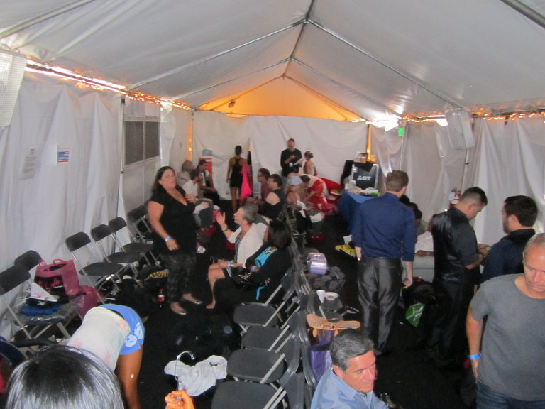 the tent where we wait to go to the greenroom
