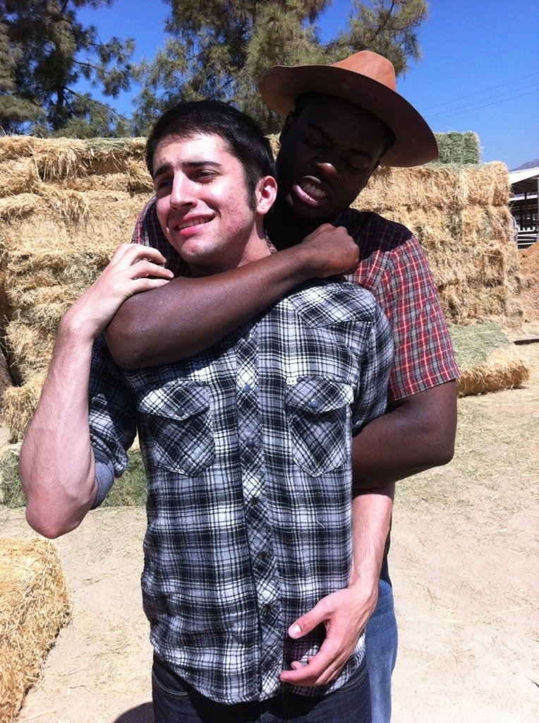 Me about to strangle Mitch during the Country photo shoot