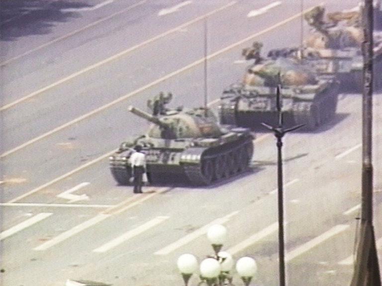Chinese Activist Blocks Column of Tanks