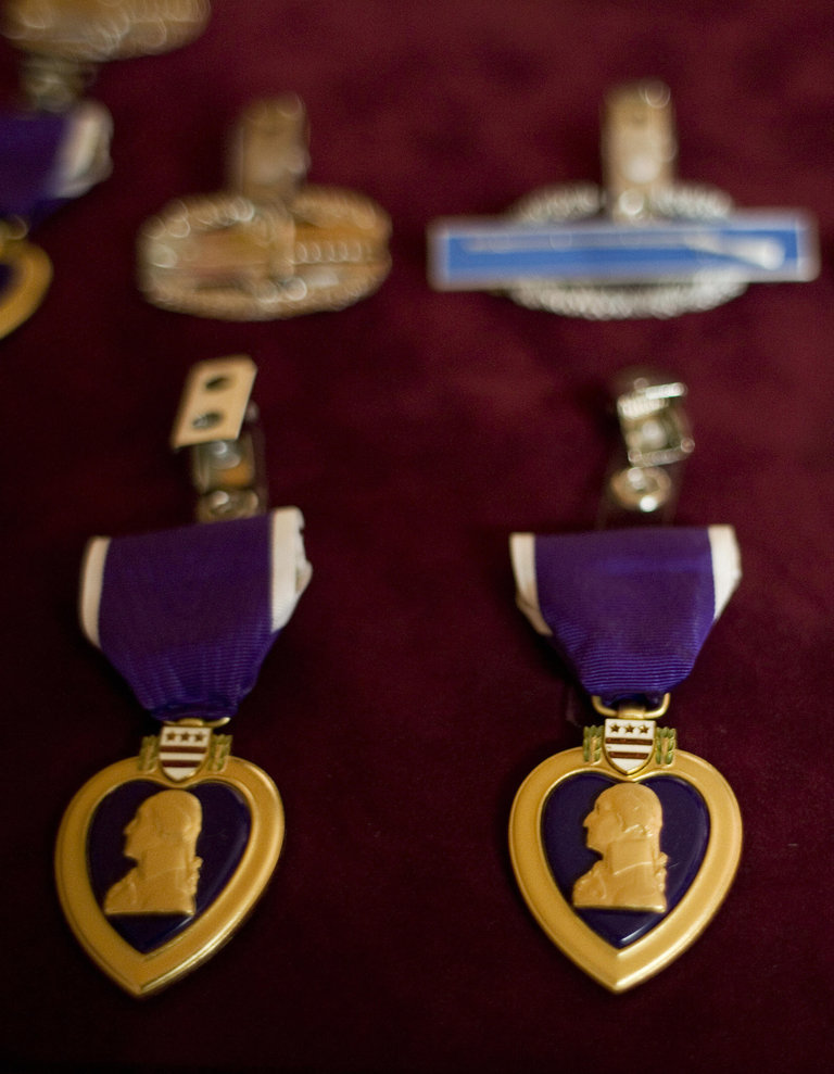 Purple Heart medals are seen before a pr