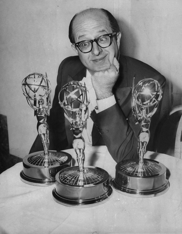 Comedian Phil Silvers eyeing his two Emmys at the Waldorf-As