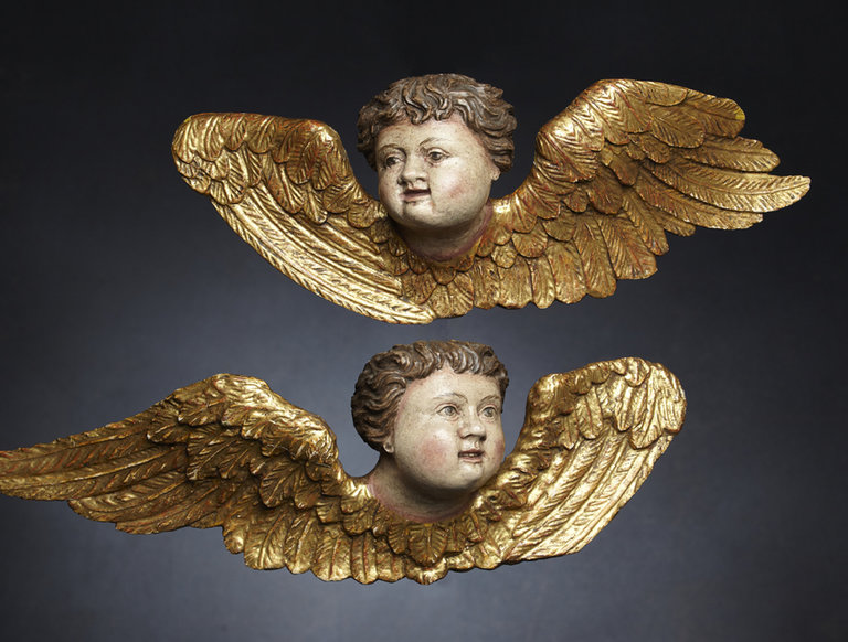 Pair of Carved Italian Putti