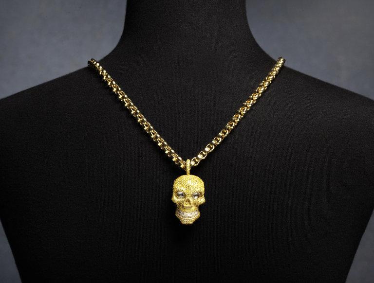 Alan Friedman Yellow Diamond Skull Pendant and Chain