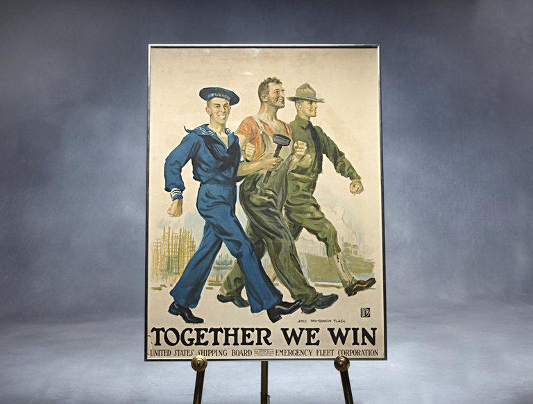 "1917 World War I Poster, ""Together We Win"""