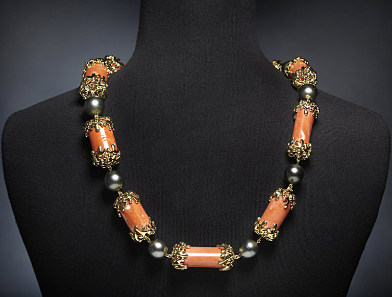Coral and Black Pearl Necklace