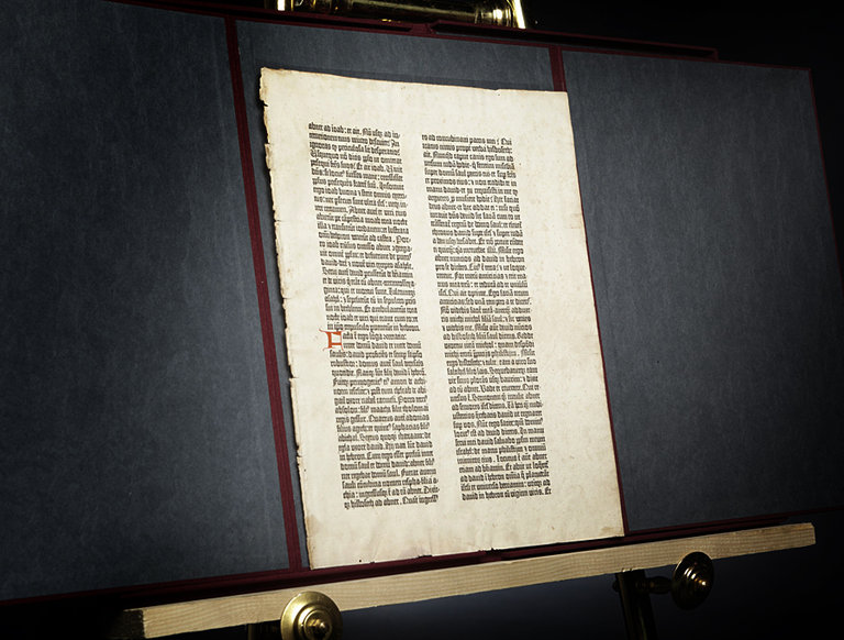 Single Page from the Gutenberg Bible (circa 1450)