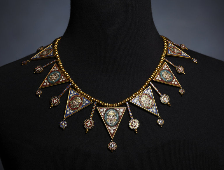 Victorian Micromosaic and Gold Necklace