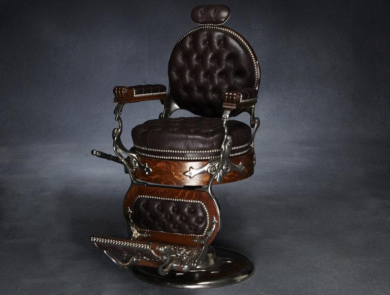 Restored Wooden Barbershop Chair (circa 1900)