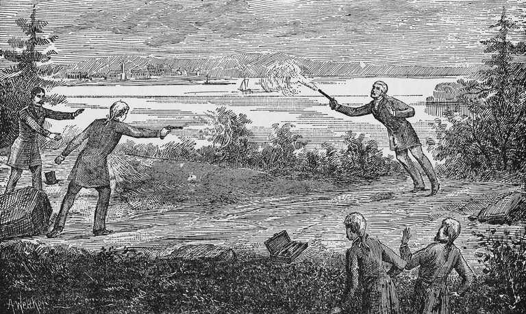 Burr Fatally Wounds Hamilton In Duel