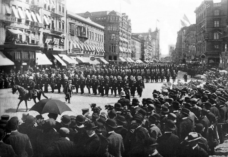 Police Parade through Streets of New York