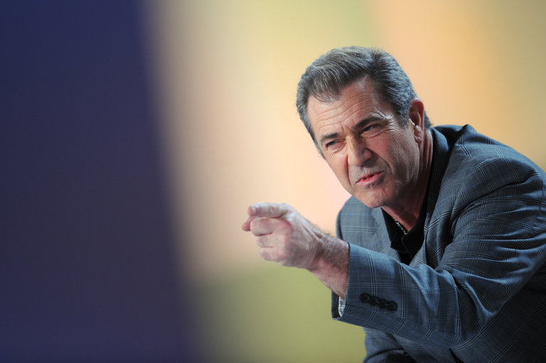 US actor Mel Gibson speaks during the TV