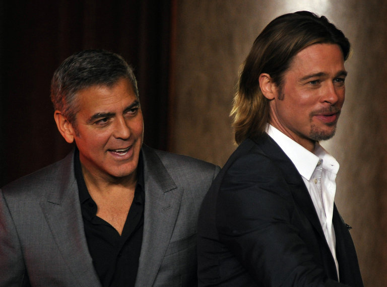 Actors  Brad Pitt and George Clooney att