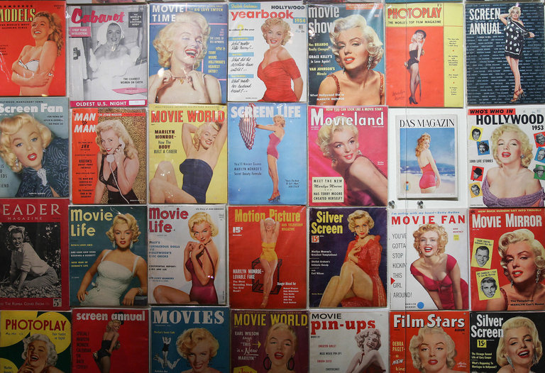 Hundreds of magazines featuring Marilyn