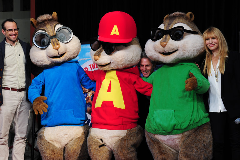 Alvin and the Chipmunks pose with actor