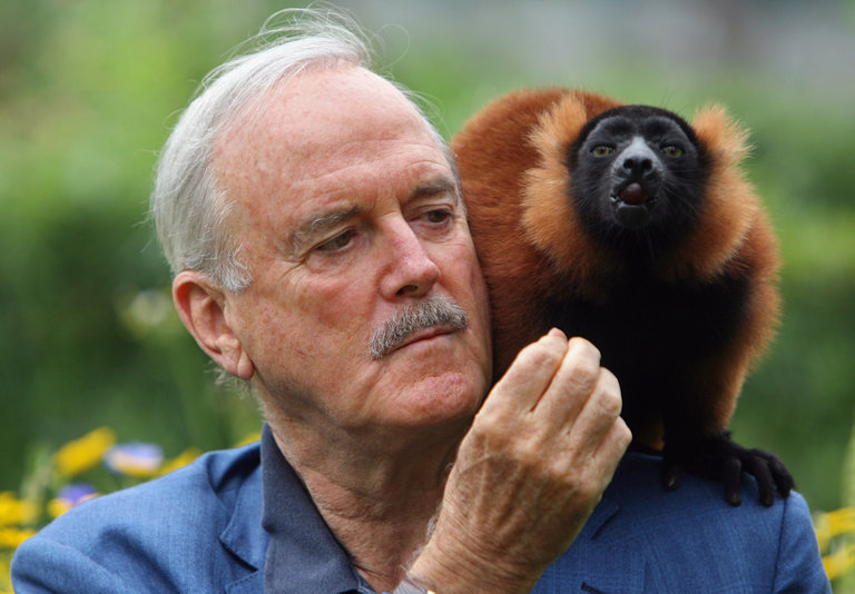 John Cleese Meets Colin The Lemur At Bristol Zoo