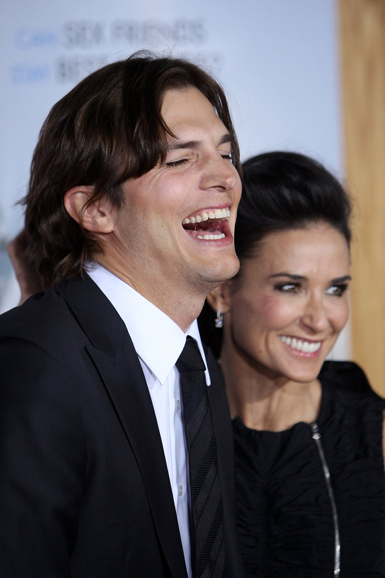 Actors Ashton Kutcher and Demi Moore arr
