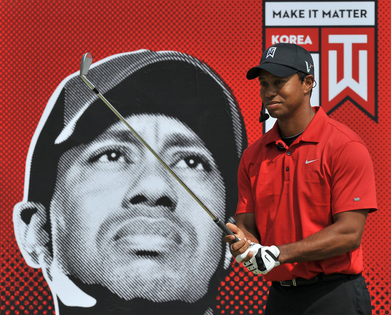 US golfer Tiger Woods demonstrates his s