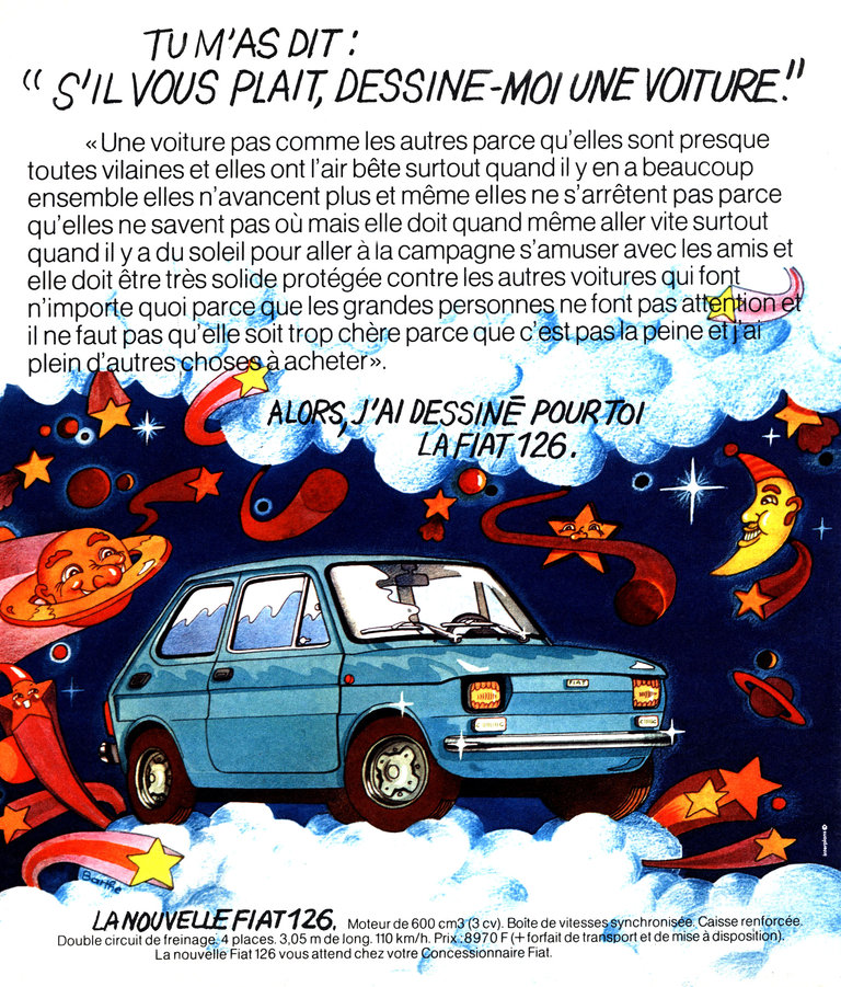 French publicity for the car Fiat 126 publishing in the magazine Paris Match, in 1972