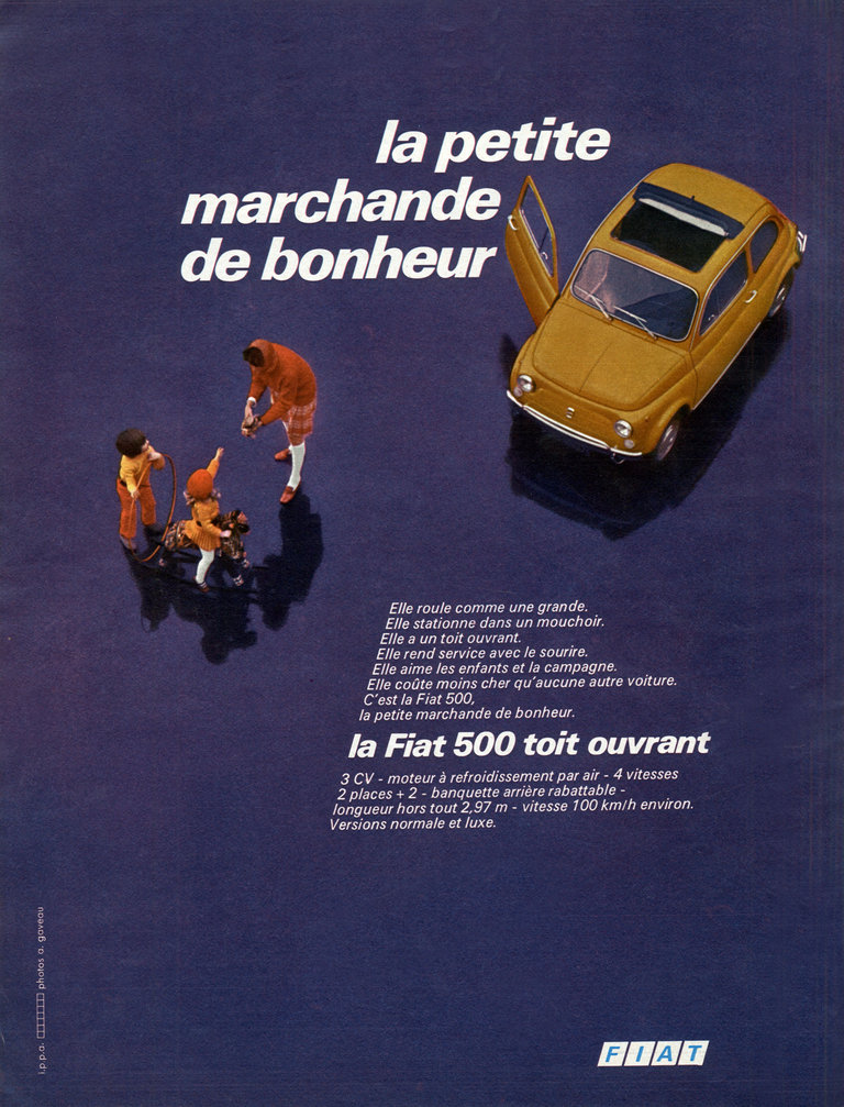 Advertismeent for italian car Fiat 500 with sunroof, 1970