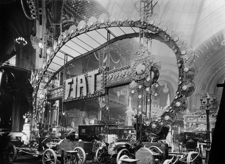 Fiat cars at the automobile show in 1906