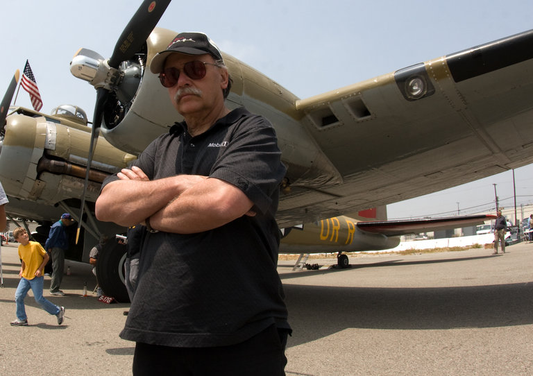 Bernard in front of the Flying Fortress