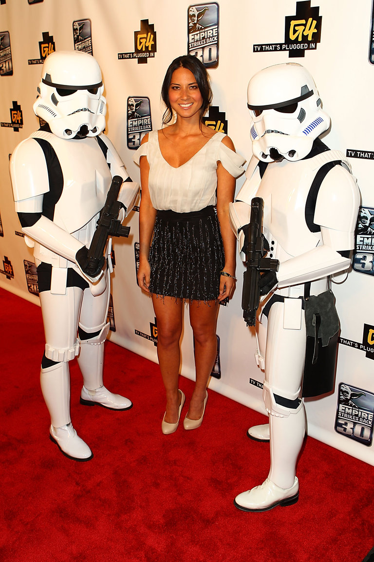 Flanked by Storm Troopers at Comic-Con 2010.