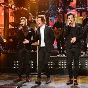 "Musical guest One Direction performs ""Story of My Life"" in Episode 1649 of Saturday Night Live on December 7, 2013."