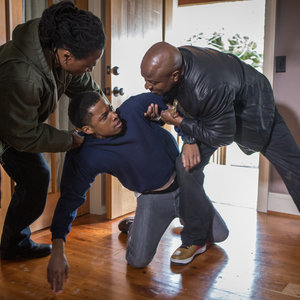"""Grimm - scene from """"Eyes of the Beholder"""" of gang members assulting a man"""
