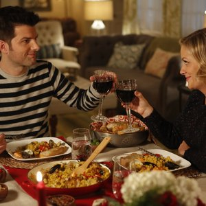 Parks and Recreation - Ben and Leslie toast their anniversary