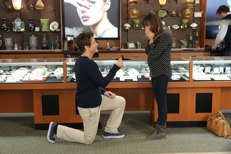 "Parks and Recreation - Chris Traeger proposes to Ann Perkins in a still from episode 611, ""New Beginnings"""