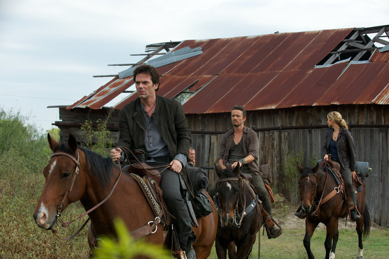 "Revolution- Miles, Monroe and Rachel on horseback from the episode ""Three Amigos"""