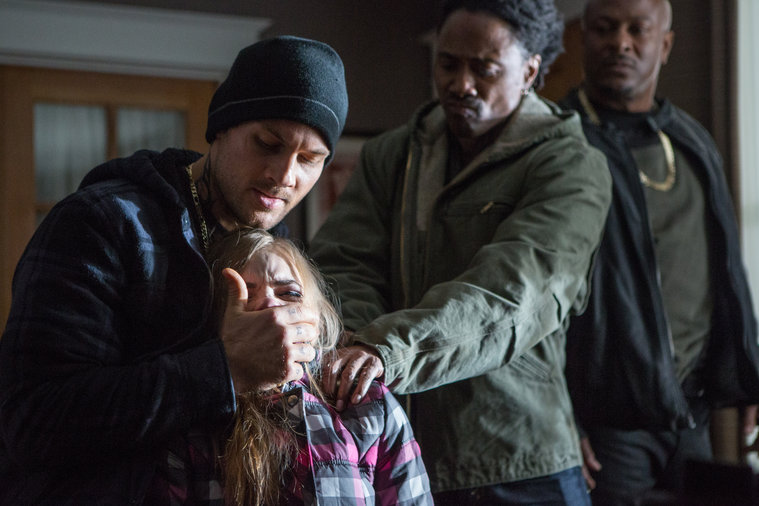 "Grimm- scene from episode 309, ""Eyes of the Beholder,"" of gang members assulting a woman"