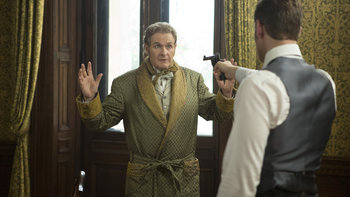"""Dracula -  Jonathan Harker trains his pistol on Lord Thomas Davenport in episode 8, """"Come To Die"""""""